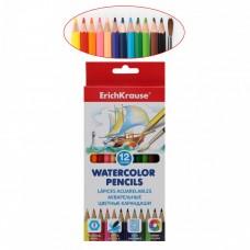 Акварельные карандаши. ErichKrause. 12 цветов. Шестигранные. С кисточкой