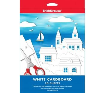 Белый картон мелованный в папке. ErichKrause. А4. 10 листов. Игрушка-набор для детского творчества