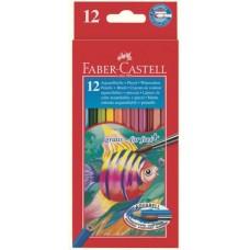 Акварельные карандаши Faber-Castell. Рыбки. Набор из 12 цветов и кисточки