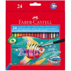 Карандаши акварельные. Faber-Castell. Рыбки. 24 цвета + кисть