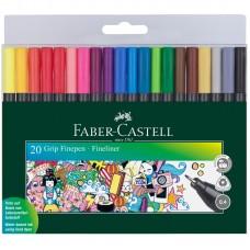 Набор капиллярных ручек. Faber-Castell. Grip Finepen. 20 цветов. 0,4мм. Трехгранные