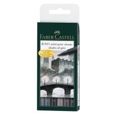 Капиллярные ручки Faber-Castell. Pitt Artist Pen Brush. 6 штук в пластиковом футляре. Оттенки серого