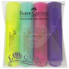 Текстовыделитель Faber-Castell. 1546 Pastel. 4 цвета в пластиковом футляре