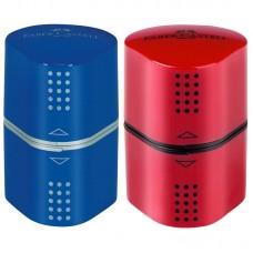 Точилка пластиковая. Faber-Castell. Trio Grip 2001. 3 отверстия. 2 контейнера
