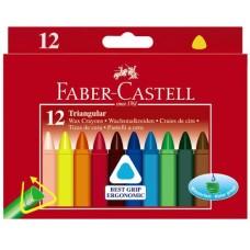 Трехгранные восковые мелки Faber-Castell. 12 цветов в картонной коробке