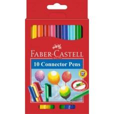 Фломастеры Faber-Castell. Connector. С клипом. 10 цветов в картонной коробке