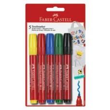 Фломастеры Faber-Castell. Для ткани. 5 цветов в блистере