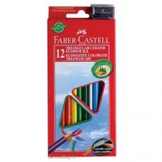 Цветные карандаши Faber-Castell. ECO Jumbo. 12 цветов в картонной коробке и точилка