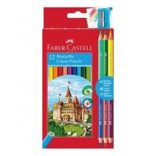 Цветные карандаши Faber-Castell. Замок. Промо набор. 12 цветов + 3 двухцветных карандаша + точилка