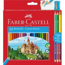 Цветные карандаши Faber-Castell. Замок. Промо набор. 24 цвета + 3 двухцветных карандаша + точилка