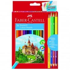 Цветные карандаши Faber-Castell. Замок. Промо набор. 36 цветов + 3 двухцветных карандаша + 1 чернографитный карандаш + точилка