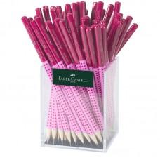 Чернографитный карандаш. Faber-Castell. Grip 2001 Two Tone. Трехгранный. В. Розовый корпус