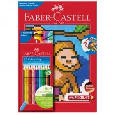 Карандаши цветные. Faber-Castell. Grip. Трехгранные. 12 цветов + раскраска