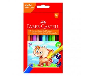 Карандаши цветные. Faber-Castell. Jumbo. Трехгранные. 12 цветов с точилкой