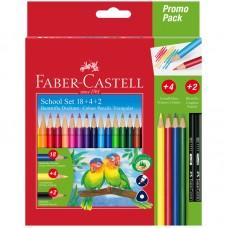 Карандаши цветные. Faber-Castell. Трехгранные. 18 цветов + 4 цвета + 2 чернографитных
