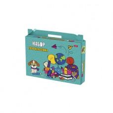 Набор школьно-письменных принадлежностей для первоклассника в подарочной коробочке. Учись с удовольствием!