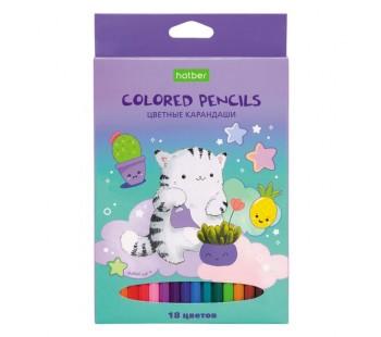 Карандаши цветные. Hatber. Приключения кота Пирожка. 18 цветов. С заточкой