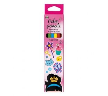 Карандаши цветные. Hatber. Мечты принцессы. 6 цветов. С заточкой