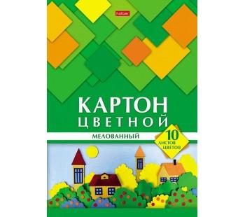 Набор цветного картона. Hatber. 10 листов. 10 цветов. А4. Мелованный. Геометрия цвета. Домики