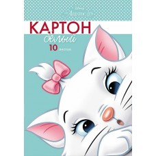 Белый картон. HATBER. А4. 10 листов. Кошечка Мари