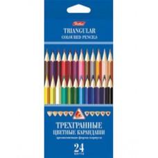 Карандаши цветные  Hatber 24 цвета. Трехгранный корпус,  с заточкой