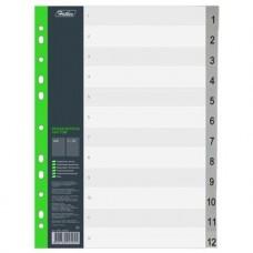 Набор разделителей листов. А4. 12 листов. Hatber. Цифровой (от 1 до 12). Пластик