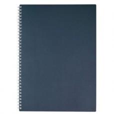Тетрадь. 80 листов. КЛЕТКА. А4. HATBER. Пластиковая обложка. METALLIC Темно-синяя