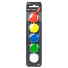 Магниты для магнитно-маркерных досок. Hatber. 5 шт. 3 см. Цветные. В блистере с европодвесом