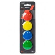 Магниты для магнитно-маркерных досок. Hatber. 4 шт. 4 см. Цветные. В блистере с европодвесом
