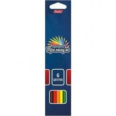 Карандаши цветные. Hatber. Премиум. 6 цветов. С заточкой. В картонной коробке с европодвесом. Супермягкий стержень