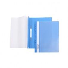 Папка-Скоросшиватель Hatber. А4. Пластиковая с перфорацией. Прозрачный верх. Синяя. 140/180мкм