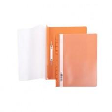 Папка-Скоросшиватель Hatber. А4. Пластиковая с перфорацией. Прозрачный верх. Оранжевая. 140/180мкм
