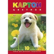 Цветной картон. HATBER. А4. 10 листов. 10 цветов. Белый щенок