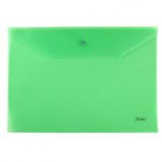 Папка-конверт. Пластиковая на кнопке. А4. Hatber. Непрозрачная. Зеленая