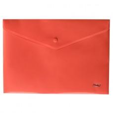 Папка-конверт. Пластиковая на кнопке. А4. Hatber. Непрозрачная. Красная