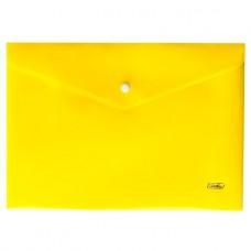 Папка-конверт. Пластиковая на кнопке. А4. Hatber. Непрозрачная. Желтая