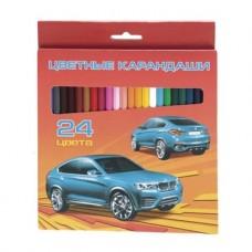 Карандаши цветные. Hatber. VK. Автопанорама . 24 цвета. С заточкой. В картонной коробке с европодвесом