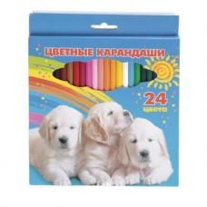 Карандаши цветные. Hatber. VK. Мои лучшие друзья . 24 цвета. С заточкой. В картонной коробке с европодвесом