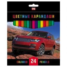Карандаши цветные. Hatber. VK. ДЖИПЫ . 24 цвета. С заточкой. В картонной коробке с европодвесом