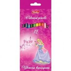 Карандаши цветные. Hatber. Принцессы на розовом . 12 цветов. С заточкой. В картонной коробке с европодвесом