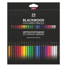 Карандаши цветные. Hatber. BLACK DIAMOND. 24 цвета. С заточкой. В картонной коробке с европодвесом. Супермягкий стержень