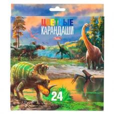 Карандаши цветные. Hatber. Динозавры . 24 цвета. С заточкой. В картонной коробке с европодвесом