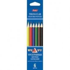 Карандаши цветные. Hatber. 6 цветов. С заточкой. В картонной коробке с европодвесом. Трехгранный корпус