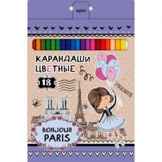 Карандаши цветные. Hatber. VK. Bonjour Paris . 18 цветов. С заточкой. В картонной коробке с европодвесом
