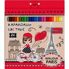 Карандаши цветные. Hatber. VK. Bonjour Paris. 24 цвета. С заточкой. В картонной коробке с европодвесом