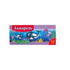 Акварель. Hatber Дельфины. 12 цветов. Медовая. Полусухая. Без кисти. В картонном пенале