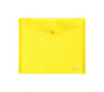 Папка-конверт. Пластиковая на кнопке. А5. 243х210мм. Hatber. Желтая