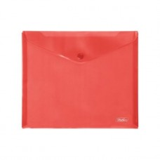 Папка-конверт. Пластиковая на кнопке. А5. 243х210мм. Hatber. Красная