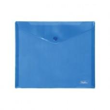 Папка-конверт. Пластиковая на кнопке. А5. 243х210мм. Hatber. Синяя
