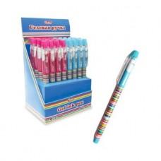 Ручка гелевая. Hatber. Полосочки. Цвет чернил - синий. 0,7 мм. С колпачком и клипом